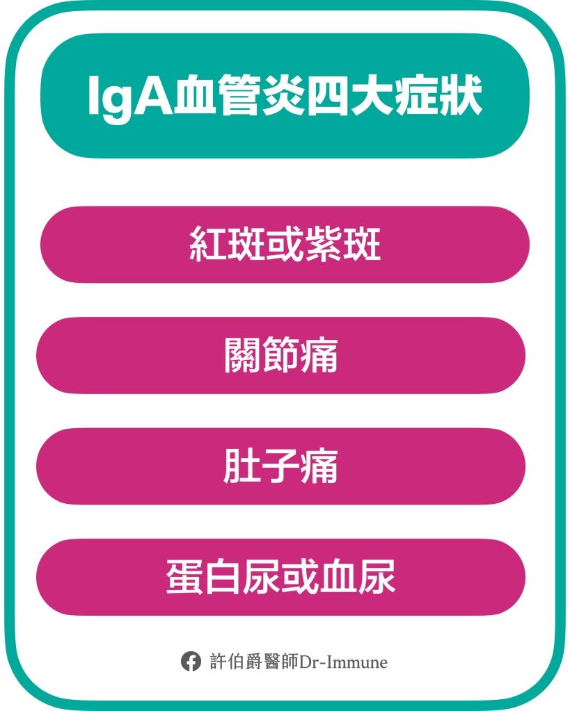 IgA血管炎的四大症狀